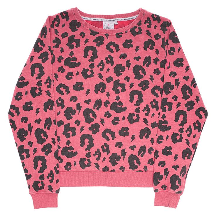 Coral marl fade out super soft sweatshirt with leopard and lightning bolt print. Neon pink embroidered lightning bolt Superpower Button on the arm. Slogan 'someone's superhero' written along inner neckline. Round neck. 53.7% cotton 46.3% polyester