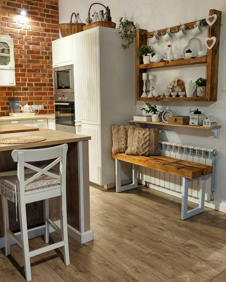 Living room. White interior.   Shabby chic. Dining room. Kitchen
