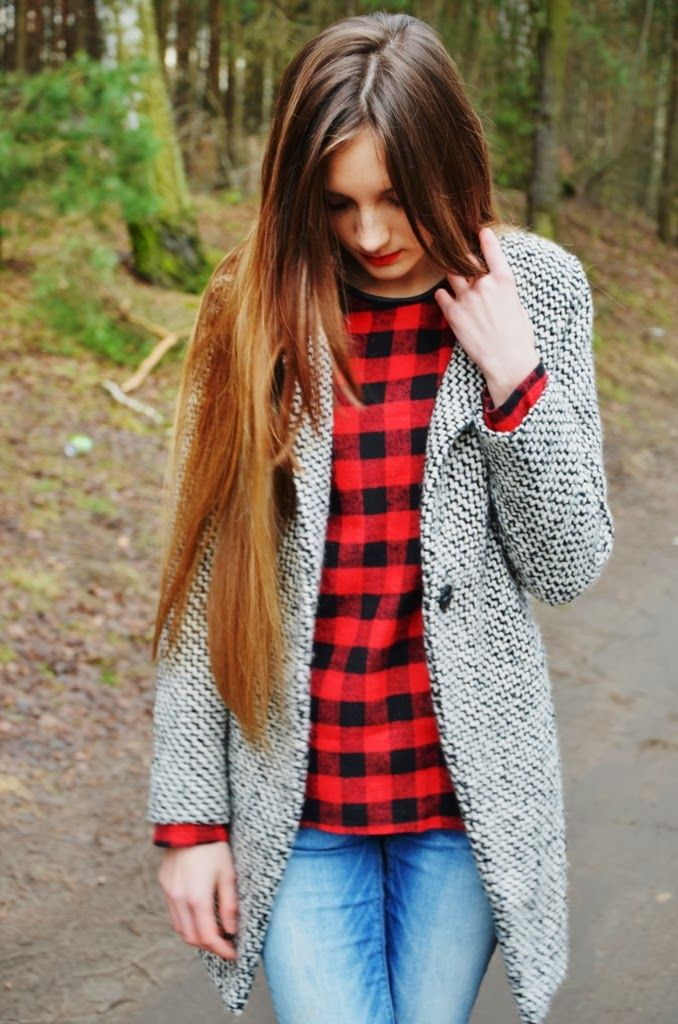 { black and white jacket over buffalo plaid }