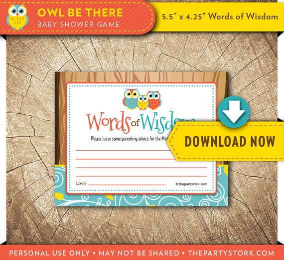 Owl Baby Shower Games, Baby ADVICE CARD, Printable, Gender