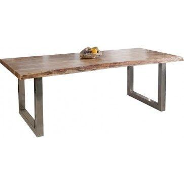 Table a manger bois d'acacia pieds chromé - Comforium.com