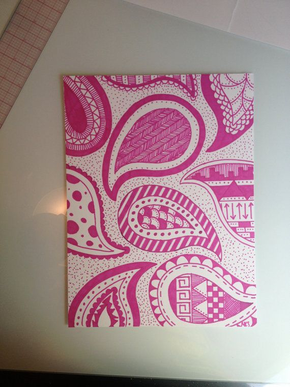 Original Abstract Sharpie Design Paisley Pink By