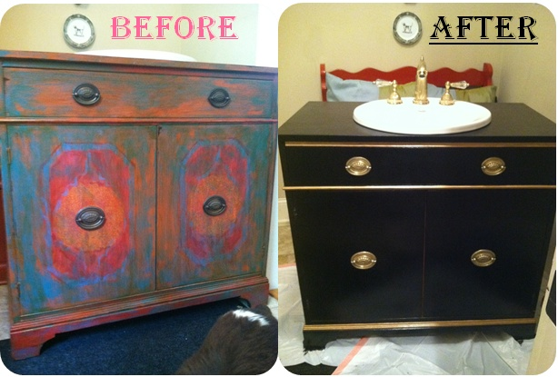 Powder room vanity DIY transformation -- The Pink Elephant