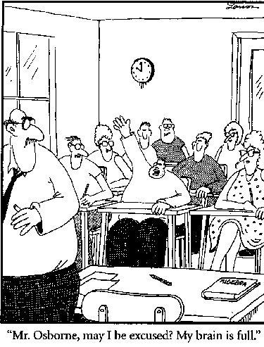 My brain is full. Gary Larsen cartoon.