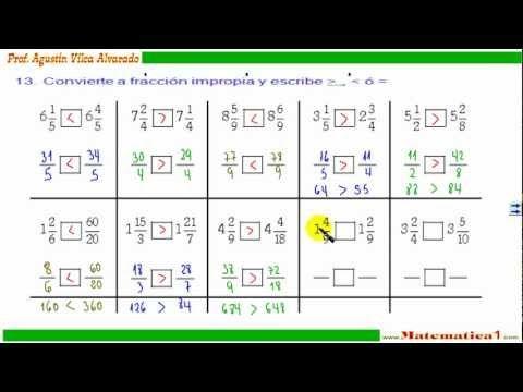 comparacion de fracciones impropias