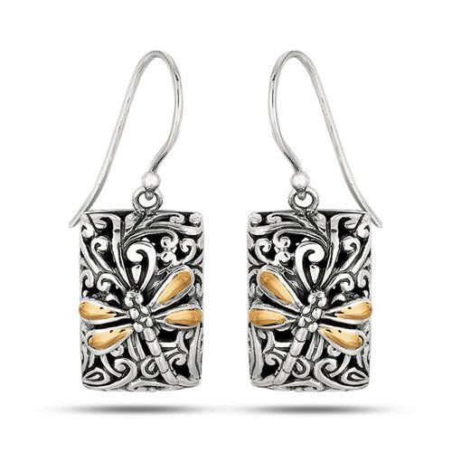 Dragonfly Collection - 18K Gold & Sterling Silver Dragonfly Rectangle French Wire Drop Earrings, http://www.amazon.com/dp/B00P8H516I/ref=cm_sw_r_pi_awdm_tfrJub071VK0G