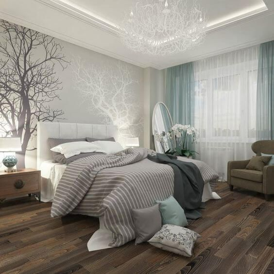 Blue and neutral modern bedroom