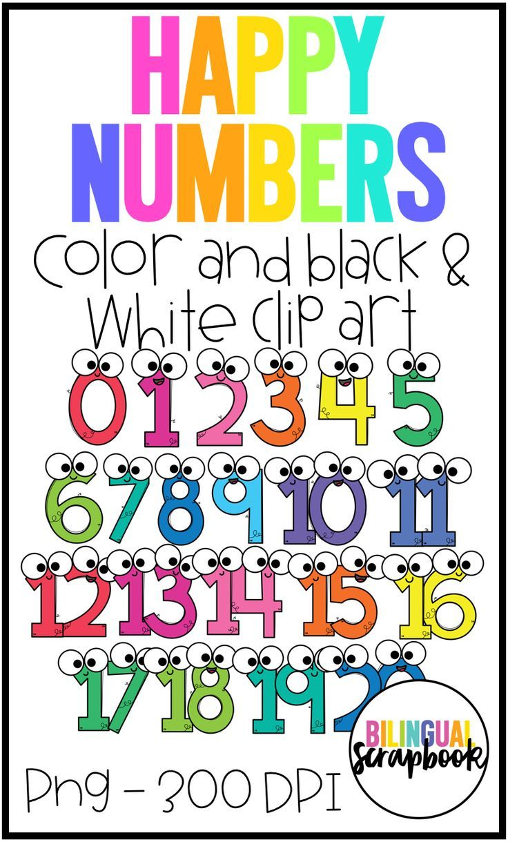 Happy Numbers 1 20 Clip Art For Personal Commercial Use Clip Art Happy Number Teaching Numbers