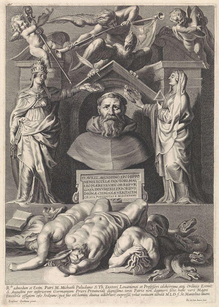Pieter de Jode (II) | Titelpagina met portret van Augustinus van Hippo, Pieter de Jode (II), 1628 - 1670 | Busteportret van Augustinus van Hippo, in monnikspij. Daaronder een kader met tekst in het Latijn. Hij wordt gelauwerd door de personificatie van het Geloof, voorzien van de pauselijke attributen (links) en de personificatie van de Waarheid, met driehoek (rechts). Daarboven twee engelen met kromstaf en mijter, een adelaar en een engel, blazend op een bazuin. Aan de bazuin hangt een doek…