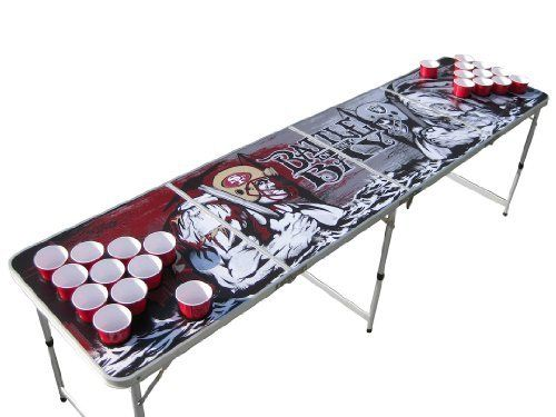 San Francisco 49ers Oakland Raiders Portable Beer Pong Table with Holes by The Pong Squad. $135.00. We do not ship to Alaska nor Hawaii.  We also do not ship to PO Boxes, APO or FPO addresses.  APO AP addressees are ok. Artwork is digitally printed on table.  Art work is exact. Get this Battle of the Bay designed beer pong table.  Completely unique with the warriors from each team about to battle inside the bay.  The famous Bay Bridge in the background with thei...