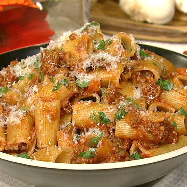 the chew   Recipe    Michael Symon's Rigatoni With Meat Sauce