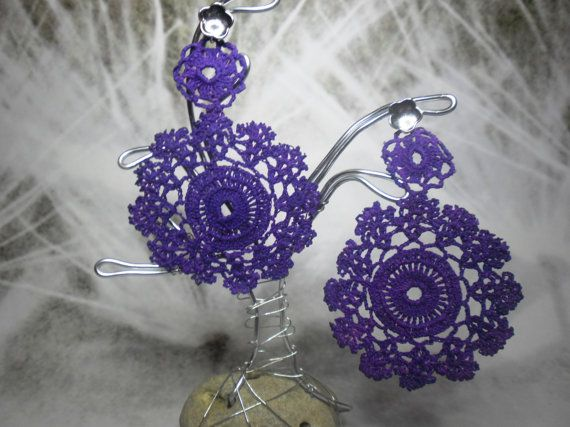 Authentic vintage lace earrings Purple collor with by BLOWBALLgr, $24.50