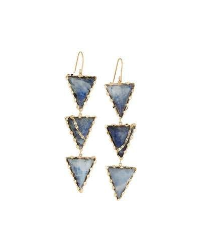 14k Mesmerize Mega Triad Drop Earrings, Blue