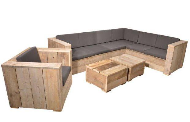 Tuinstoel met een hoekbank en twee lage vierkante tafeltjes van steigerhout. En nog veel meer gratis bouwtekeningen op : https://steigerhout-recycling.nl//steigerhout/