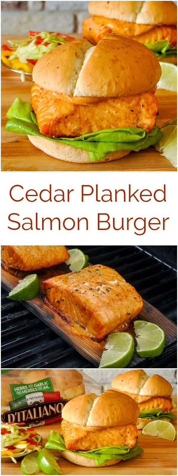 Cedar Planked Salmon Burger – Healthier eating made deliciously easy with cedar plank smoked salmon on D'Italiano Herb & Garlic Hamburger Buns. #sponsored