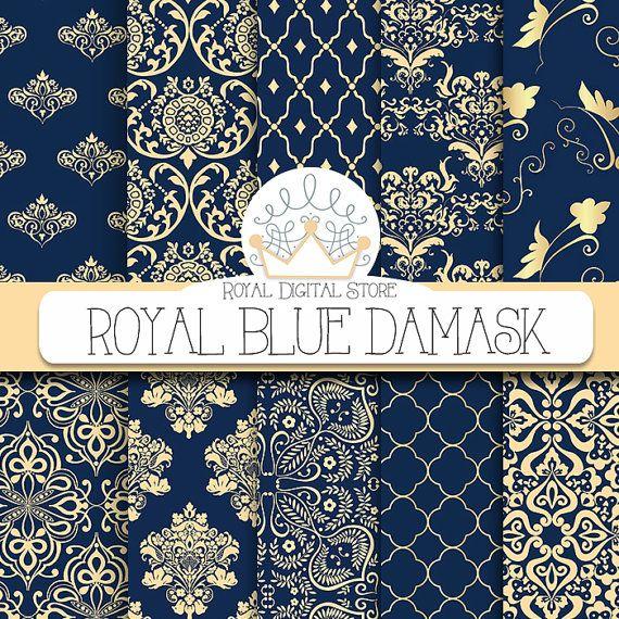 "Damask Digital Paper: ""Royal Blue Damask"" with royal blue damask, dark azure damask, gold , blue damask digital paper #blue #gold #damask #digitalpaper #scrapbookpaper #wedding"