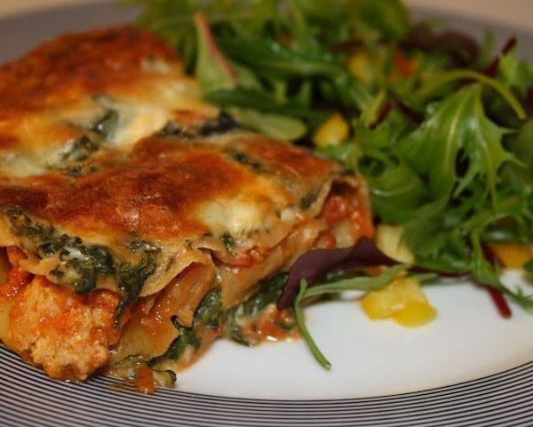 Lasagne med kylling, grøntsager og hytteost