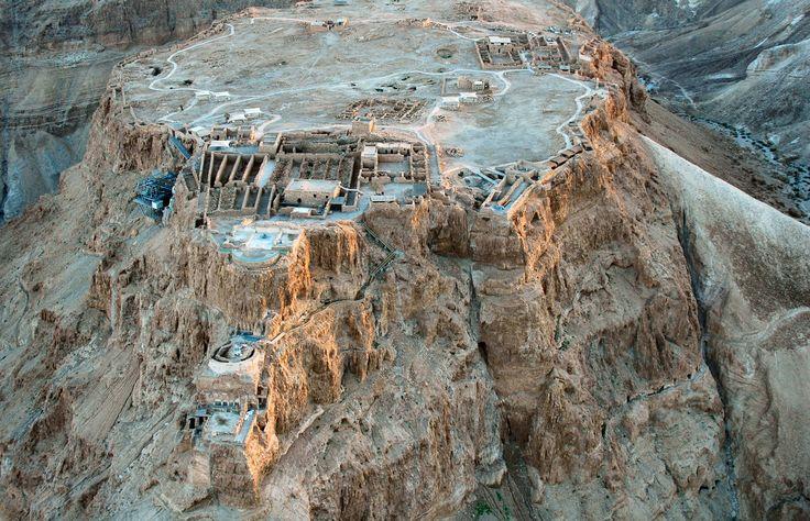 Masada fortress showing king herod s 3 palaces hugging the north face