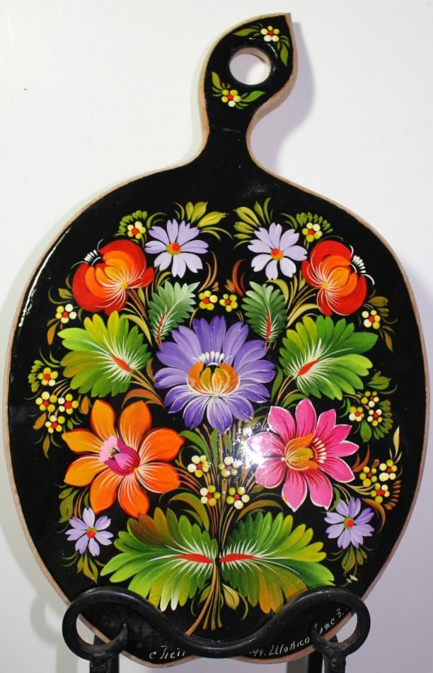 Petrykivka style, hand painted Cutting board