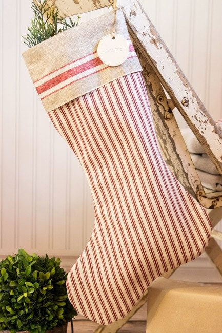Christmas Stocking Pottery Barn Red Ticking with a vintage mangle cloth cuff by SuttonPlaceDesigns