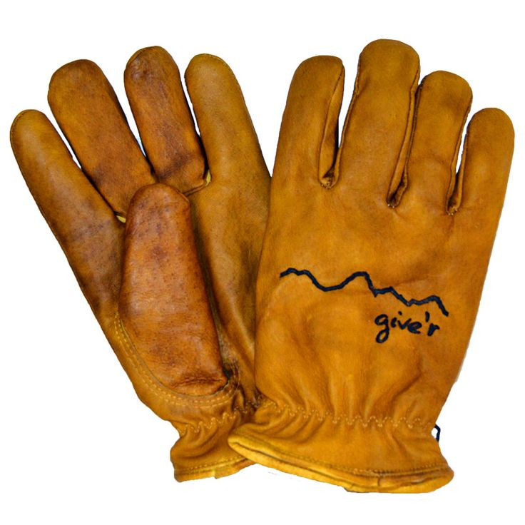 "The Classic Hand-Branded Leather Give'r Gloves were born straight out of the mountains in Jackson Hole, Wyoming, where sturdy, lined gloves are a necessity, not a luxury. ""The Glove of 100 Uses"" comes"