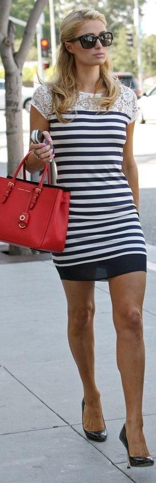 Paris Hilton in a navy and white striped dress - celebrity street style!