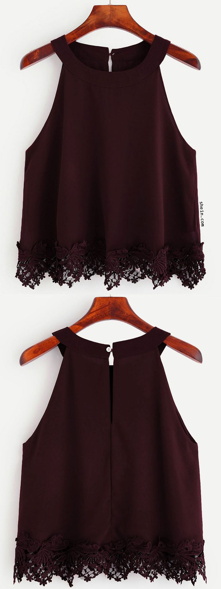 Burgundy Crochet Trim Chiffon Halter Neck Top, this is só girly and so cute i realy like it