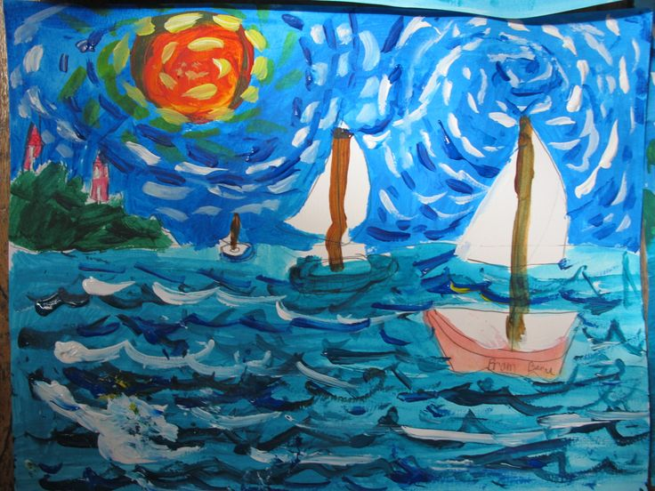 Take a look at these wonderful seascapes painted in one of today's workshops! Do you think your child would enjoy taking part?  Book online at www.FineArt4kids.com (12 photos)