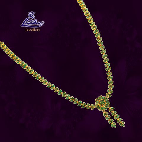 LALITHAA_JEWELLERY Here comes vibrant green Ruby necklace from #lalithaajewellery. Glitter Green Today.......  Ruby Bracelets Designs Ruby Jewellery Bracelets Ruby Fancy Earrings
