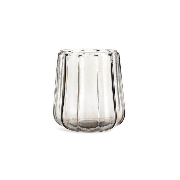 Windlicht Gerillt Glas, D13,5cm X H13,5cm, Grau, Grau Wohnung