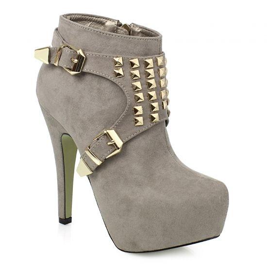 Μποτάκια με χρυσά τρουκ σε γκρι από το www.inshoes.gr [Grey ankle boots with golden studs by www.inshoes.gr]