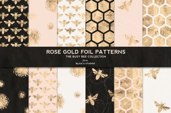 Busy Bee Rose Gold Digital Patterns by Blixa 6 Studios on Creative Market