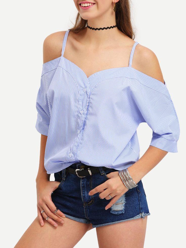 blusa rayas verticales hombro al aire volantes spanish shein sheinside