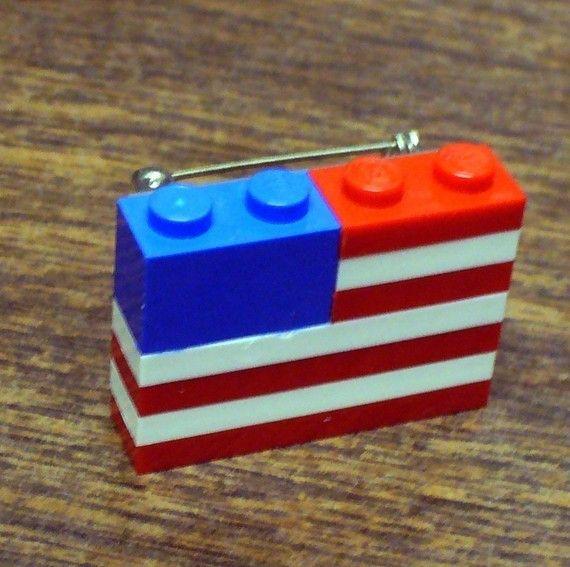 LEGO American Flag Pin on etsy.com