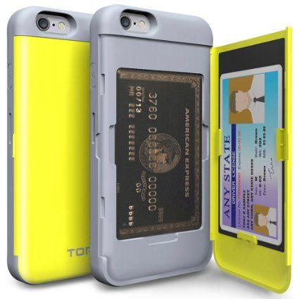 Amazon.com: iPhone 6S Case, TORU [CX PRO] iPhone 6 Wallet Case - [CARD SLOT][ID HOLDER][KICKSTAND] Protective Hidden Wallet Case with Mirror for iPhone 6/6S - Yellow: Cell Phones & Accessories