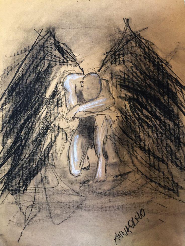 Angelo. Carboncino su cartone 30x42