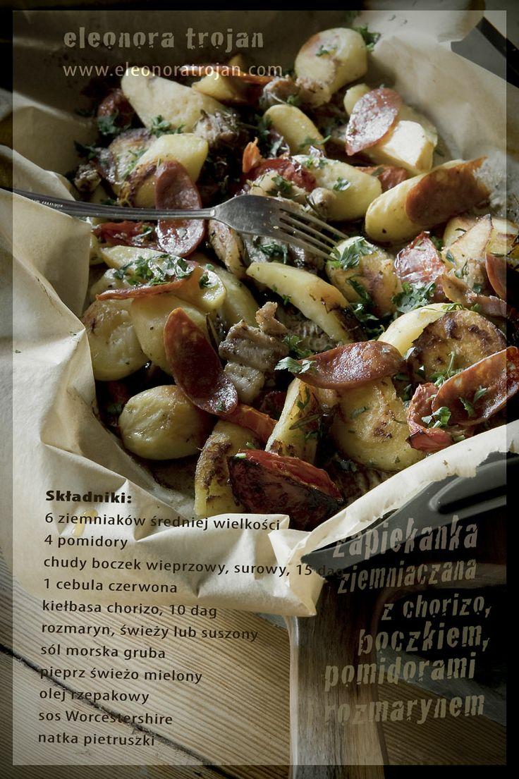 scalloped potato with chorizo, bacon, tomatoes and rosemary from #eleonora #trojan #eleonoratrojan
