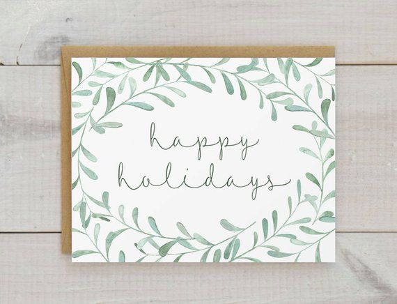 Handmade Christmas Card Holiday Card Watercolor By Thelittlecardco