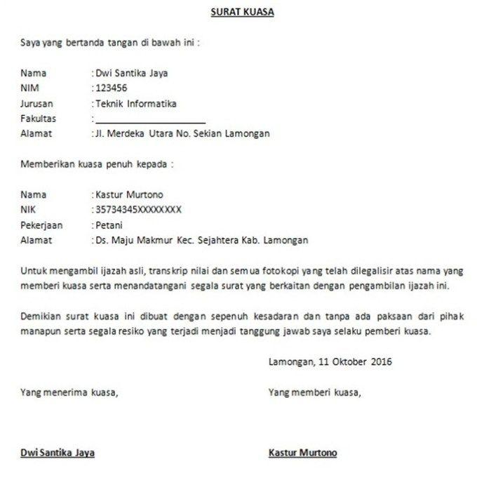 Contoh Surat Kuasa Pengambilan Ijazah Surat Kuasa Surat Hukum Pidana