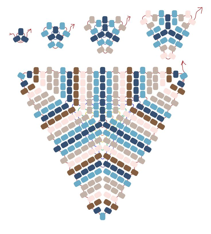 Peyote Stitch | Peyote Power Triangle stitch and bead overlay drawn by Dustin Wedekind ...