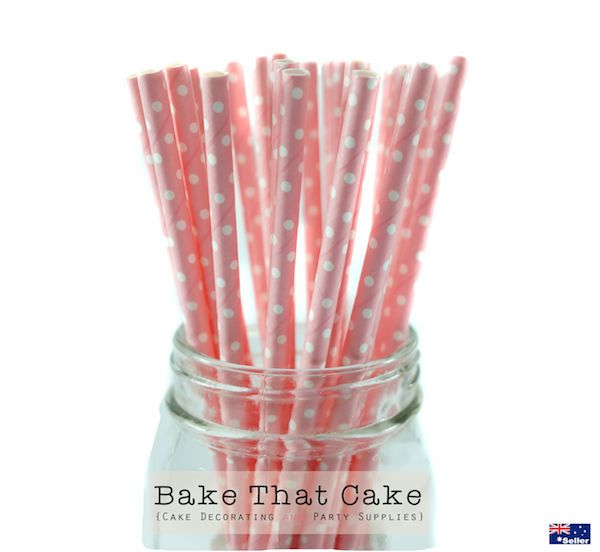 50 x Baby / Light Pink Polka Dot Paper Straws Wedding Party Event.