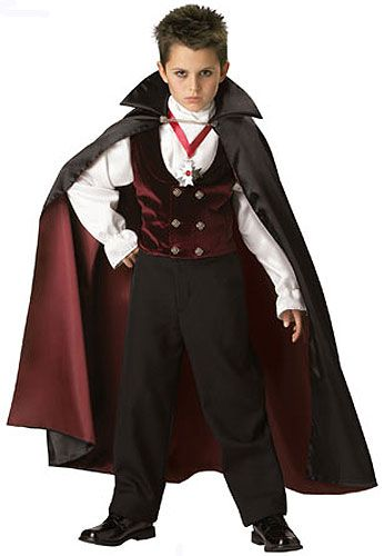 Boys Vampire Costume - I like the Satin and classy look of this one. I would choose a brighter red.