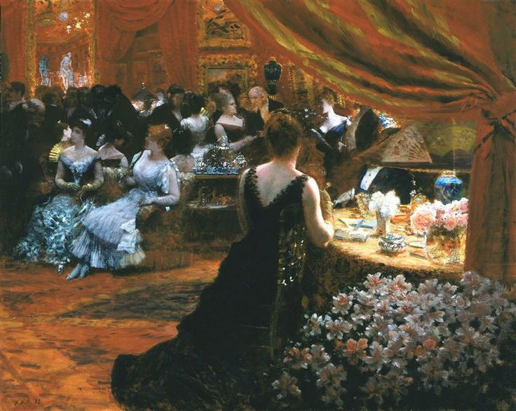 Giuseppe De Nittis (Italian 1846–1884) [Impressionism, Salon] Le salon de la princess Mathilde Bonaparte, 1883.