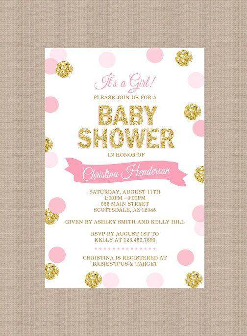 Pink And Gold Baby Shower Invitation, Gold Glitter, Polka Dots, Baby Girlu2026