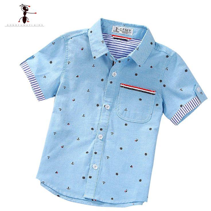 Musim panas Lengan Pendek anak laki-laki Kemeja Kasual Turn-down Kerah Camisa Masculina Blus untuk Anak Anak Pakaian 1461