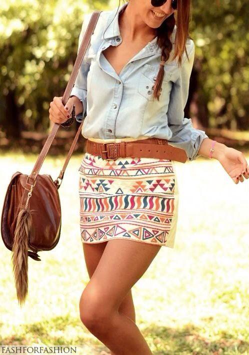 Camisa Jeans + saia + cinto