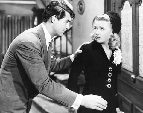 Cary Grant and Priscilla Lane in Arsenic and Old Lace (1944).