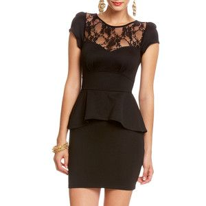 Peplum dress with lace n sleeves