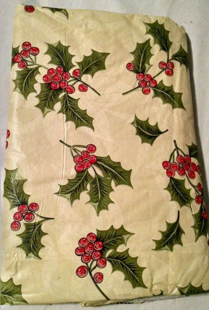 Christmas Holly Vinyl Flannel Back Oblong Tablecloth 51 x 58 in #unbranded