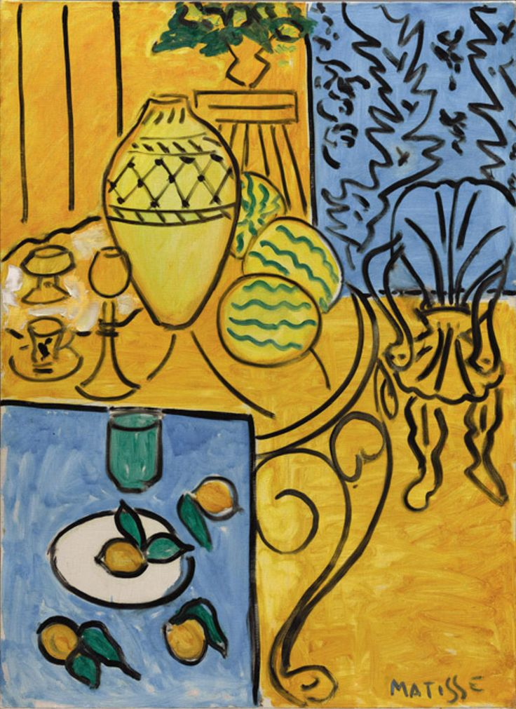 Painting by Henri Matisse (1869-1954), 1946, Interior in Yellow and Blue, Oil on canvas.